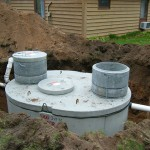 Installation of 1000 gallon septic tank